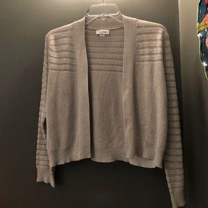 Calvin Klein Silver Cropped Shrug Sweater